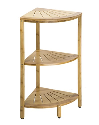 Dream Palace Natural Bamboo Three Tier Corner Shelf Storage (15.75 x 15.75 x 30 in) for Shower, Kitchen, Hall, Freestanding Shelving by Dream Palace