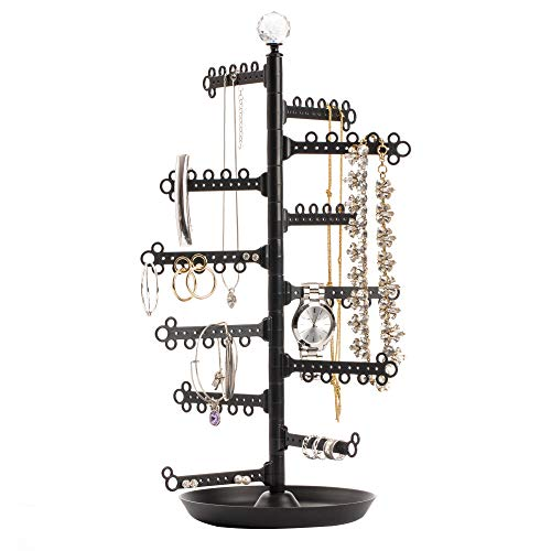 All Hung Up Black 12-Tier Stand Jewelry Holder Tray/Dish - Customizable Storage Tree Tower Display Organizer for Necklaces, Earrings, Rings, Bracelets