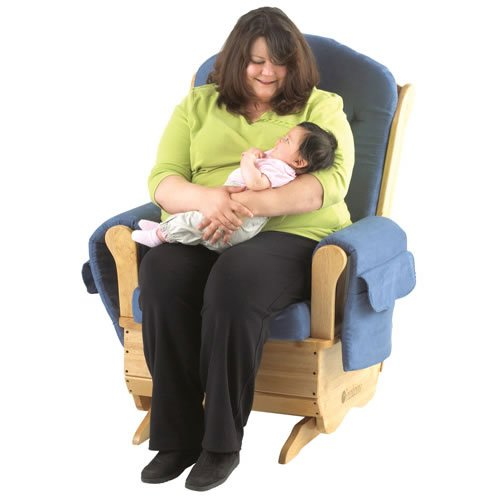 Foundations Worldwide SafeRocker Standard Glider Rocker, Natural/Blue by Foundations Worldwide
