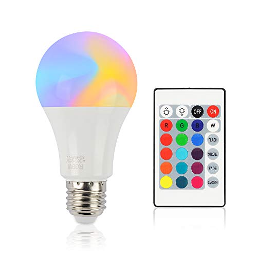 LED Light Bulb,Color Changing Light Bulb Dimmable 10W E26 Screw Base RGBW,4 Modes Color Changing with Remote Control,12 Color Choices for Home, Living Room, Bedroom and More (1Pack)
