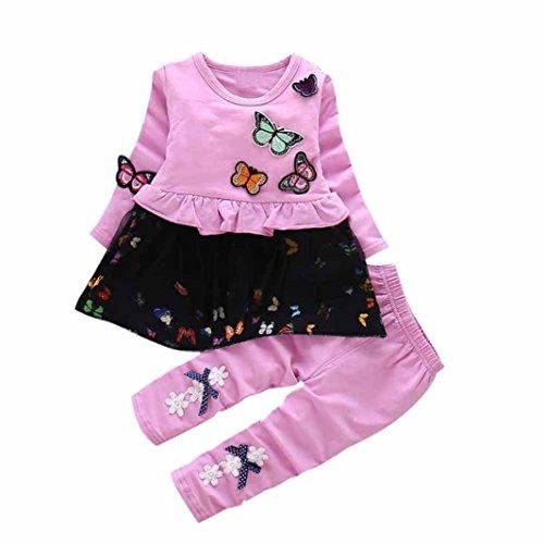 Jumper Butterfly Set - Digood Toddler Newborn Baby Kids Girls Butterfly T-Shirt Tops Skirt +Bowknot Pants Outfits Set Clothes (18-24 Months, Purple)