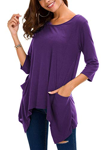Women's Plus Size 3/4 Sleeve Tunic Tops for Leggings Loose Pocket Shirt (XL, Purple)