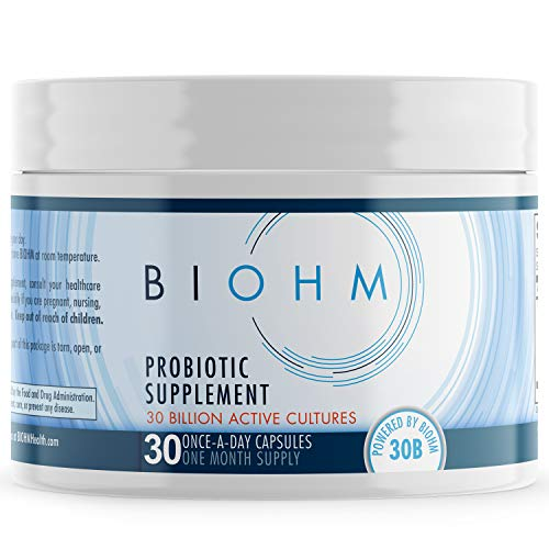 BIOHM 30 Billion CFU, Backed by Science, Probiotics for Women & Men, Organic Probiotic Supplement Digestive Enzyme Support with Fungi for Immune Health, Shelf Stable, Non-GMO, Vegetarian, 30 Count