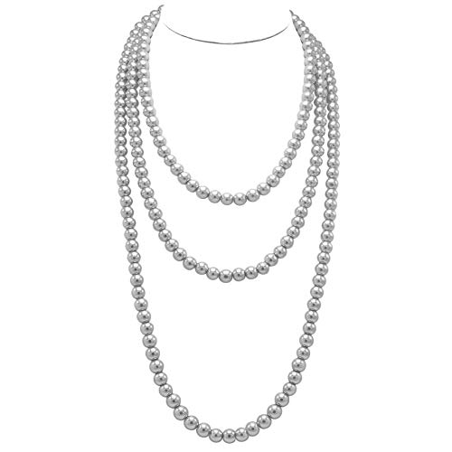 T-Doreen Grey Long Pearl Necklace for Women Girls 69 Inch Layered Strands Necklace