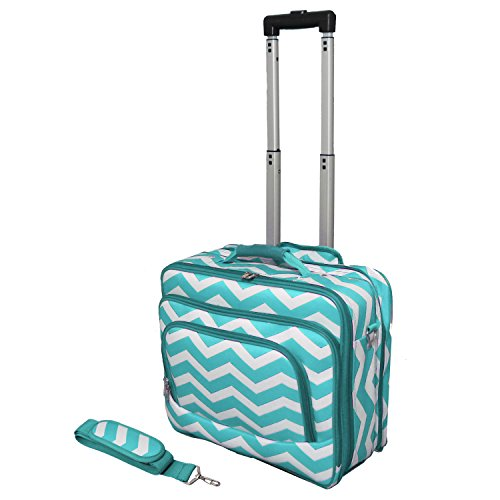 World Traveler Fashion Print Women's Rolling 17-Inch Laptop Case, Light Blue White Chevron, One Size