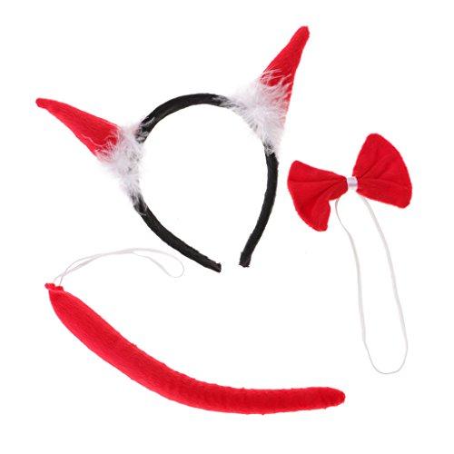 Jili Online Pack of 3 Monster Buffalo Ox Bull Horn Headband Bow Tail Set Halloween Xmas Costume Fancy Dress - 2, One Size -