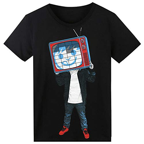 LED Shirt Sound Activated Light Up Rave Clothes Glow in The Dark for EDM TV Head (L) -