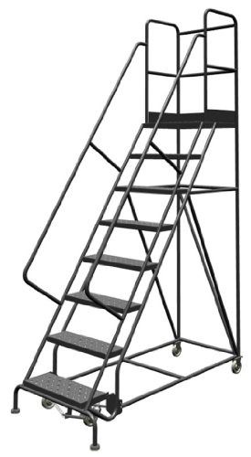 "Tri-Arc KDSR108246-D2 8-Step 20"" Deep Top Steel Rolling Industrial & Warehouse Ladder with Handrails, 24"" Wide Perforated Tread"