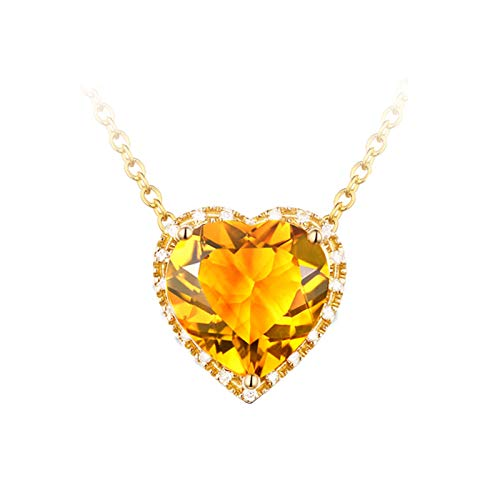 Beydodo 18K Necklace White Gold with Diamond Heart Pendant with Citrine Gold Necklaces Set for Wedding