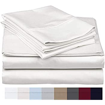 The Bishop Cotton 100% Egyptian Cotton 800 Thread Count 4 PC Solid Pattern Bed Sheet Set Italian Finish True Luxury Hotel Collection Fits Up to 16 Inches Deep Pocket (King, White).