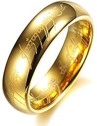 Hobbit One Anillo de El señor de los anillos, tamaños de 7 a 13, color dorado o plateado, 6 mm de ancho - Acero...