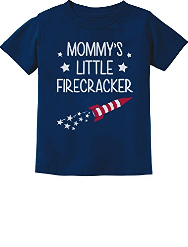 (Mommy's Little Firecracker Cute 4th of July Toddler/Infant Kids T-Shirt 18M Navy)