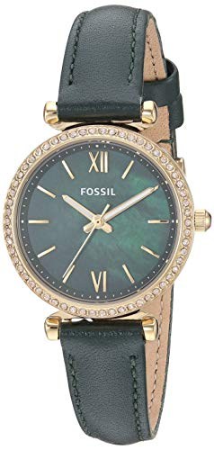 Fossil Women's Carlie Mini Stainless Steel Quartz Leather Strap, Green, 12 Casual Watch (Model: ES4651)