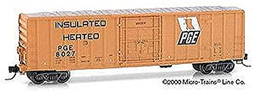 Micro Trains N 27280, 50' Rib Side Box Car, Plug Door without Roofwalk, Pacific Great Eastern PGE #8027 (N Scale) (50' Rib Side Boxcar)