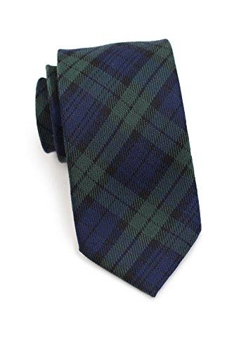 Bows-N-Ties Men's Necktie Green Navy Tartan Plaid Wool Matte Tie 3 - Tartan Wool Tie