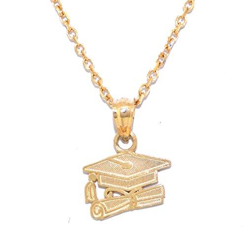 14k Gold Diploma Charm (14K Yellow Gold Graduation Charm)