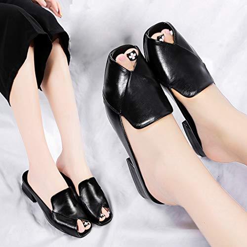 Femme Manadlian Casual Shoes Mocassins on Noir Chaussures Soft Simple Plates Slip Chaussons Cuir Mules Avec Pantoufles De Nœud En Ballerines Flat Plats Sandales Pointure tEq8EIwRz