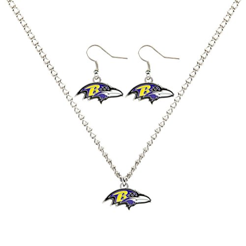 aminco NFL Baltimore Ravens Necklace And Dangle Earring Set (Charm Logo Necklace Hanging)