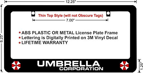 LOHIGHH Resident Evil Umbrella Corporation Custom License Plate Frame Black Metal 12