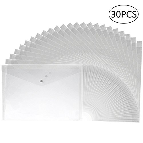APLANET 30pcs Clear Plastic Waterproof Envelope Folder with Button Closure, A4 Size by EOOUT