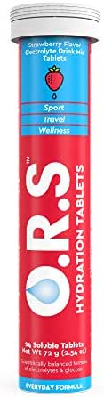O.R.S Hydration Electrolyte Tablets, Hydration Multiplier with 60% Less Sugar and Calories (Strawberry, 24 Tablets, 12 Servings)