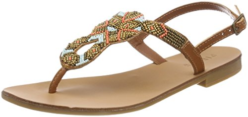 Multi Pieces Sandal Pscarmen Leather Cognac Beads para Chanclas Mujer Marrón p6URq