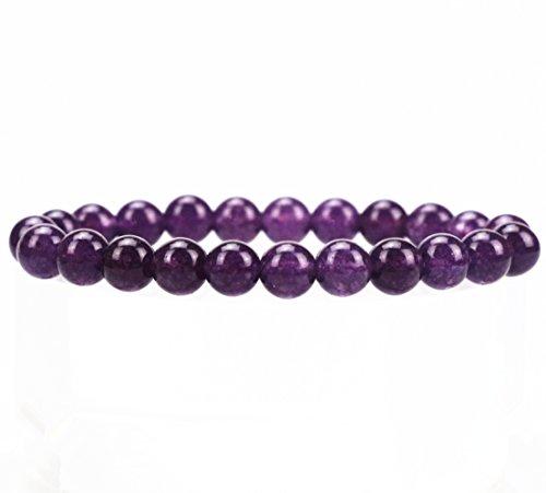 Natural Gemstone Semi Precious Round Beads Bracelet 8mm Handmade Stretch Bracelet Unisex Jewelry (Malay Deep Purple Chalcedony)