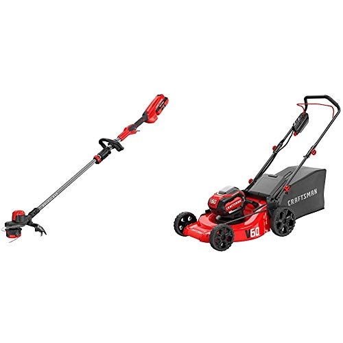 "CRAFTSMAN CMCMW260P1 V60 21"" 3-in-1 Lawn Mower with CMCST960E1 V60 Brushless WEEDWACKER Cordless String Trimmer with Quickwind"