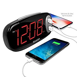 SHARP Digital Alarm Clock - Easy to See Large Red LED Display - 2 Ultra Fast Charging USB Charge Ports - 2X as Fast as Conventional USB Chargers - Simple to Set - Simple to Use