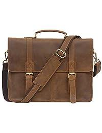 Jack&Chris Men's Leather Briefcase Messenger Bag Business Laptop Bag, 1116-2