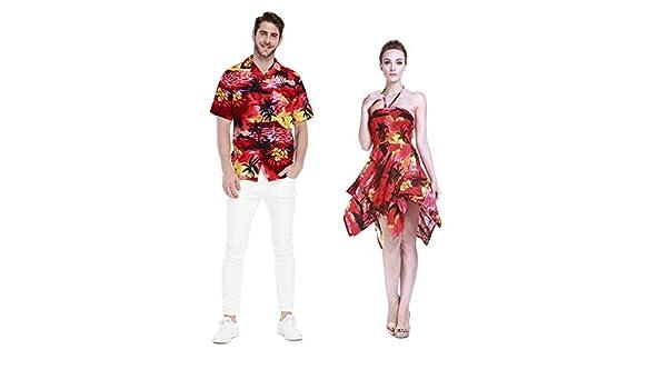 Pareja Hawaiano Combinación Luau Aloha Camisa y Vestido ...