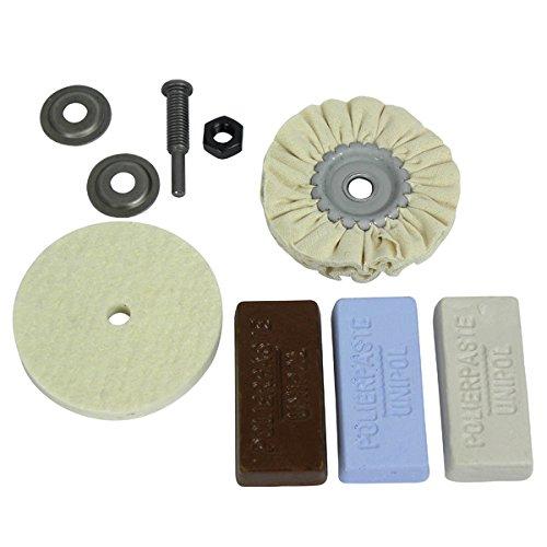Osborn Polierset für Bohrmaschine, 6-teilig Metall 85/80, 3 Polierpasten weiß / braun / blau, Schaft 6 mm, 1203600000