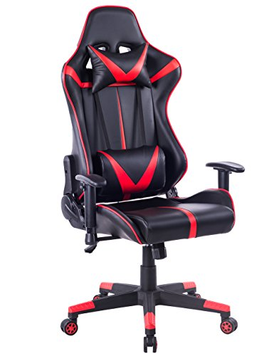 Multi Tilt Ergonomic Chair (Killbee Ergonomic Swivel Gaming Chair Large Size PVC Leather Executive Office Chair with Headrest and Lumbar Support (Red))