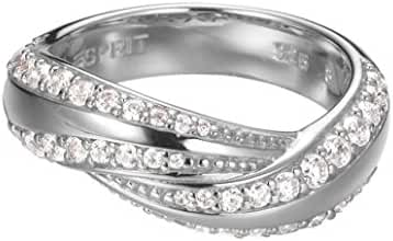 ESPRIT Women's Ring 925 Sterling Silver Rhodium Plated Glass Zirconia Glam Curves White