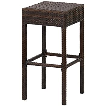 Best Choice Products Outdoor Furniture Set of 2 Wicker Backless Bar Stools- Dual Tone Brown
