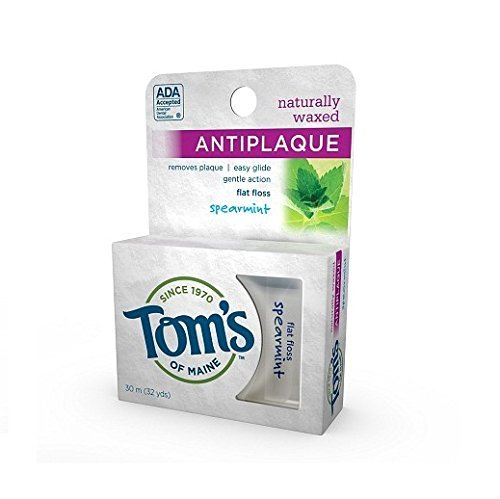 Flat Spearmint Antiplaque (Tom's of Maine Naturally Waxed Anti-Plaque Flat Floss, Spearmint, 32 yd - 2pc by Tom's of Maine)
