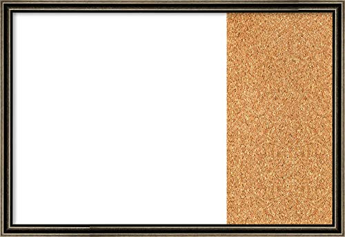 Framed Dry Erase and Cork Board Combo | Bulletin Boards and Cork Boards | Multifunctional Combo Boards | Pewter Scoop Frame | 28.62 x 19.62