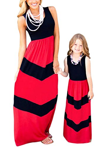 WIWIQS Summer Cute Mommy and Me Boho Striped Chevron Maxi Dresses(Red and Black,2XL)