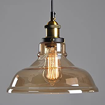 winsoon 11 x 10 inch vintage industrial ceiling lamp clear glass pendant lighting for kitchen. Black Bedroom Furniture Sets. Home Design Ideas