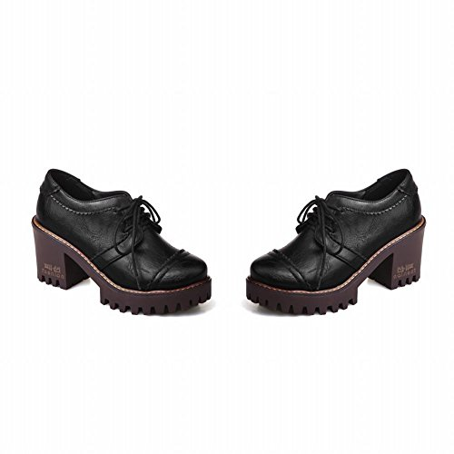 Mee Shoes Damen Blockabsatz zweifarbig Plateau Pumps Schwarz