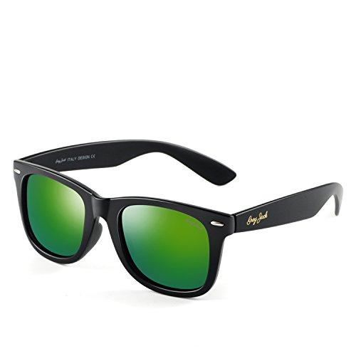 - GREY JACK Classic Polarized Retro Square Horn Rimmed Design Sunglasses for Men Women Matte Black Frame Green Lens