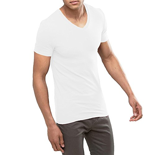 OA ONRUSH AESTHETICS Men's Extreme V Neck Muscle Fit T-Shirt with Deep Skinny Cut Tee in White S