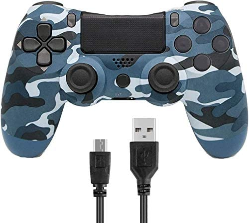 Game Controller for PS4,Wireless Controller for Play Station 4 with Dual Vibration Game Joystick(Blue Camouflage, NOT-OEM)