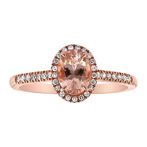 Olivia Paris 14k Rose Gold Oval Morganite and Diamond Halo Vintage Ring (0.15 cttw, H-I Color, I1 Clarity) Size 7 0.15 Total Carat Weight