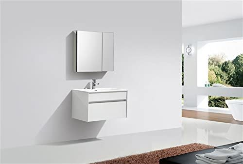 Tona Fitto 32 High Gloss White Wall Mount Modern Bathroom Vanity