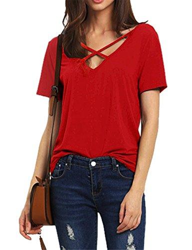 dutebare-women-criss-cross-front-top-deep-v-neck-short-sleeve-casual-t-shirts-red-s