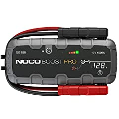 The GB150 is an ultra-portable, lightweight, and compact portable lithium car battery jump starter pack for 12-volt batteries. With it, you can safely jump start a dead battery in seconds - up to 80 times on a single charge. It's a mistake-pr...