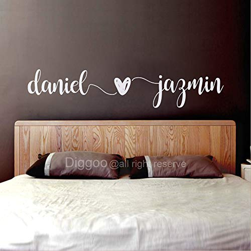 Custom Couple Names Wall Decal Husband Wife Names Decal Master Bedroom Wall Decor Wedding Gift Romantic Wall Art (8