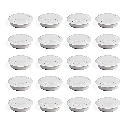 EMUCA - Pasacables de Mesa Circular Ø60mm de plastico Blanco, Tapa pasacables encastrable en Mesa de Oficina/Escritorio, Lote de 20