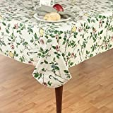 """Elrene Home Fashions Vinyl Tablecloth with Polyester Flannel Backing Floral Morning Easy Care Spillproof, 60"""" X84"""" Oval, Multicolor"""